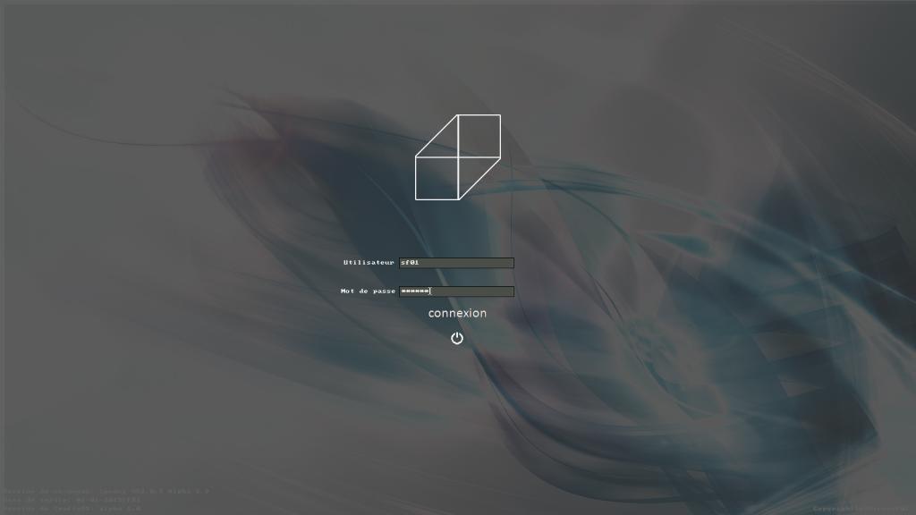 Aperçu de CraftyOS (LOGIN) Transparence : Fond d'écran utilisateur visible [1er Janvier 2014]
