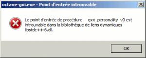octave 3.8 : erreur gui windows
