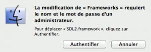 Mot de passe installation framework sur Mac