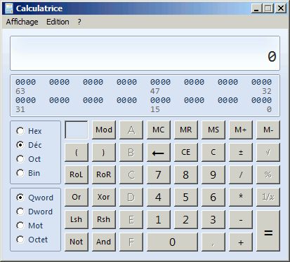 Calculatrice programmeur Windows