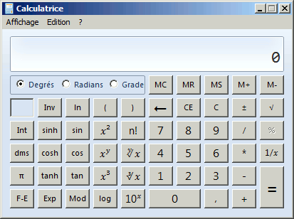 Calculatrice scientifique Windows