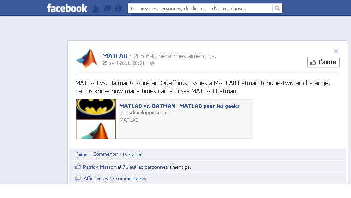Matlab Facebook