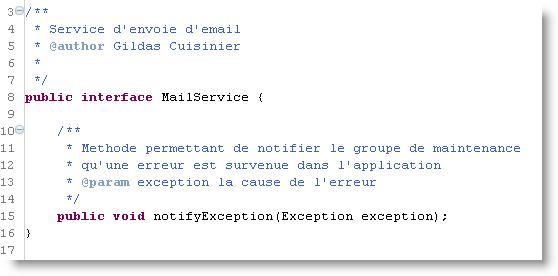 Interface du service d'email