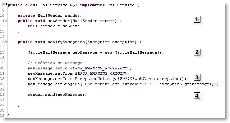 Implémentation du service d'email