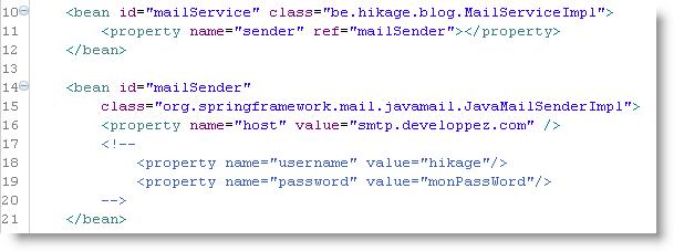 Configuration pour le service d'email