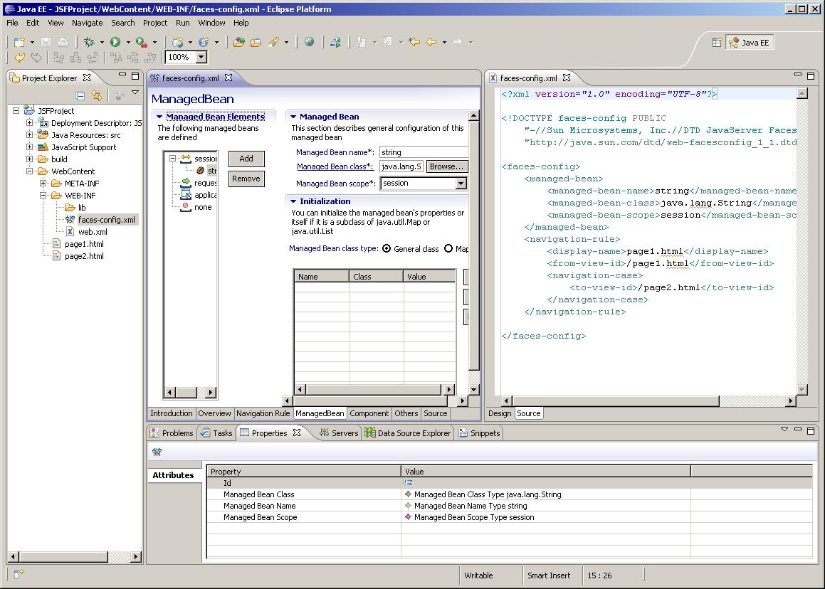 Synchro Page ManagedBean de FacesConfigEditor