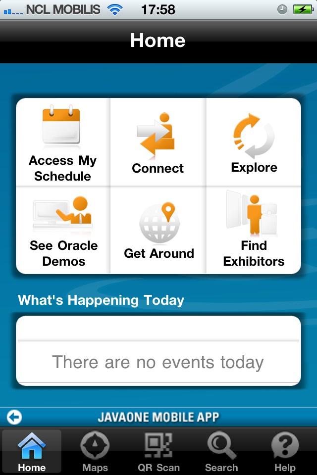 Écran d'accueil de l'application iOS JavaOne 2011.