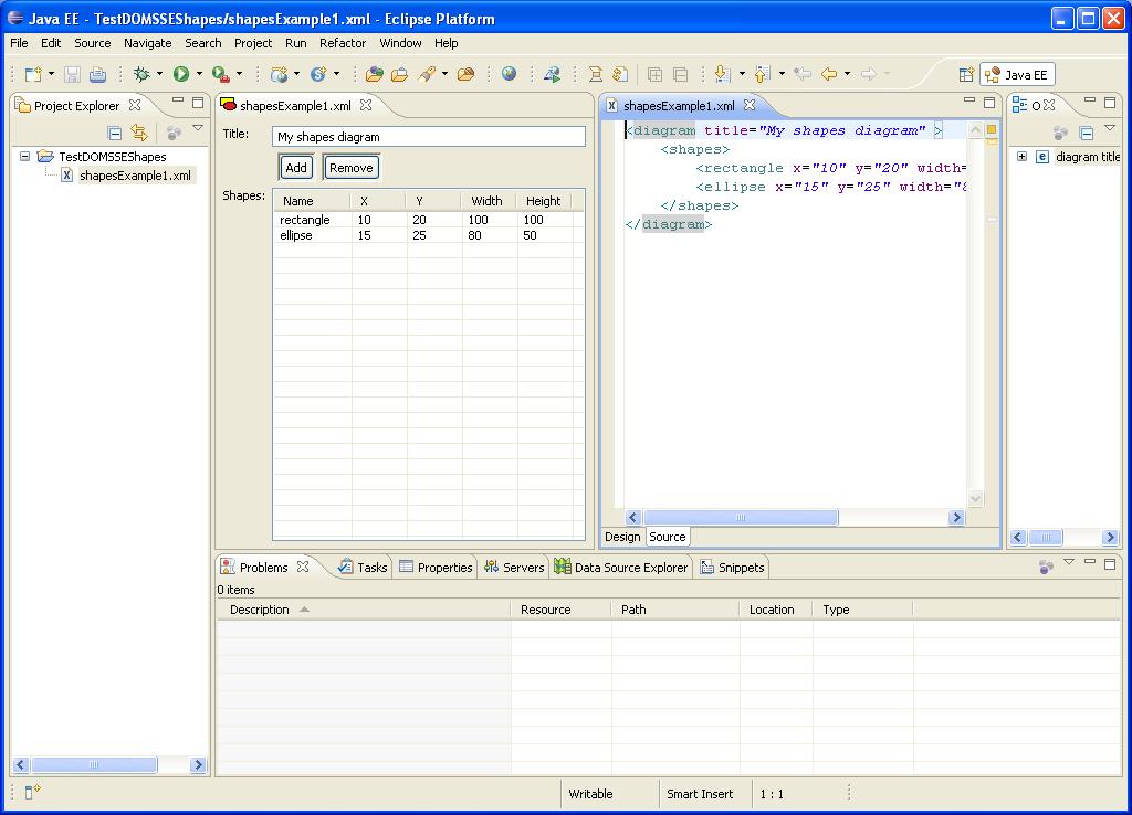 DOM-SSE Shape diagram- XML Editor