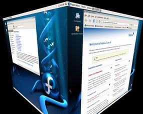 GNU Linux Fedora Core 6 - AIGLX 3D Desktop