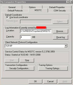 Microsoft DTC Settings
