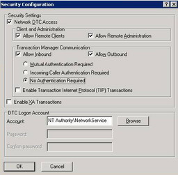 Microsoft DTC Security Configuration