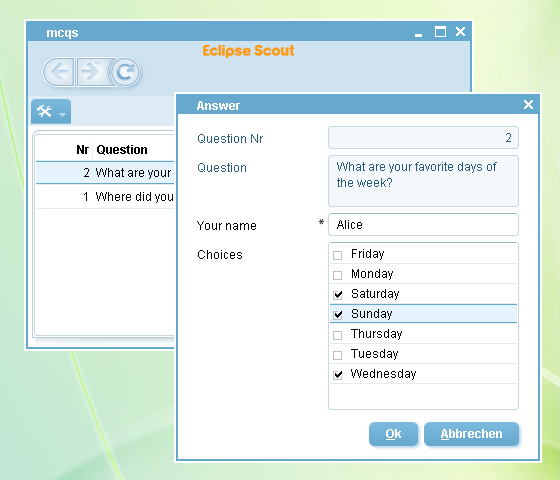 Mcqs - une application Eclipse Scout