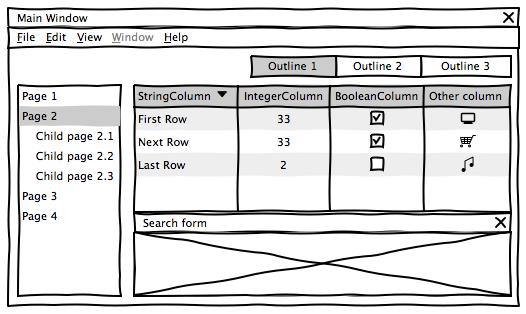 Fil de fer de la fenêtre principale d'une application Eclipse Scout