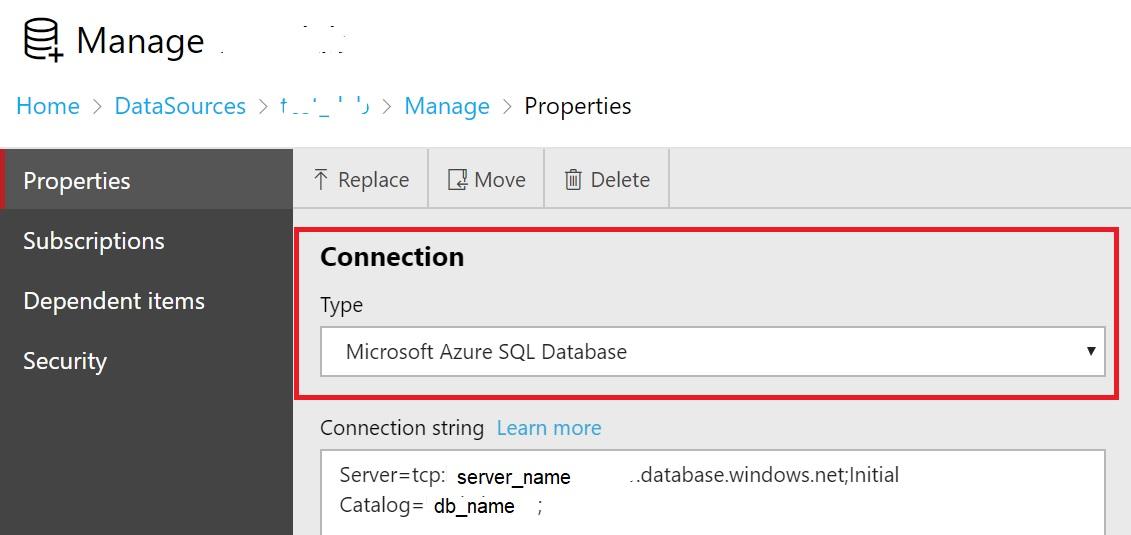 154 - 1 - SSRS datasource DB Azure Type