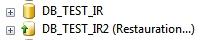 La base de données apparait en cours de restauration dans l'IHM SSMS de sql server