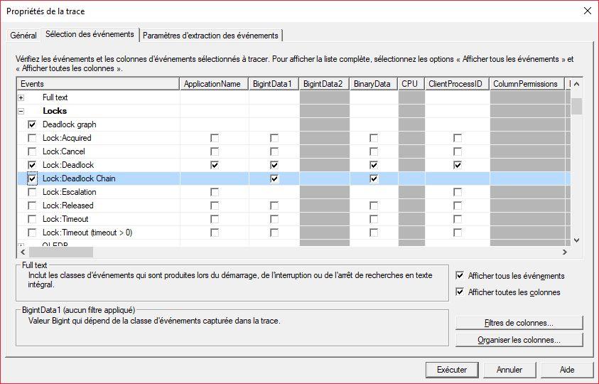 Événements à cocher pour auditer les verrous mortels de SQL Server